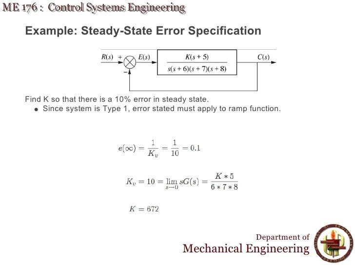 Lecture 12 ME 176 6 Steady State Error