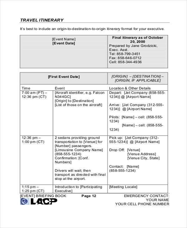 9+ Travel Itinerary Templates - Free Word, PDF Format Download ...