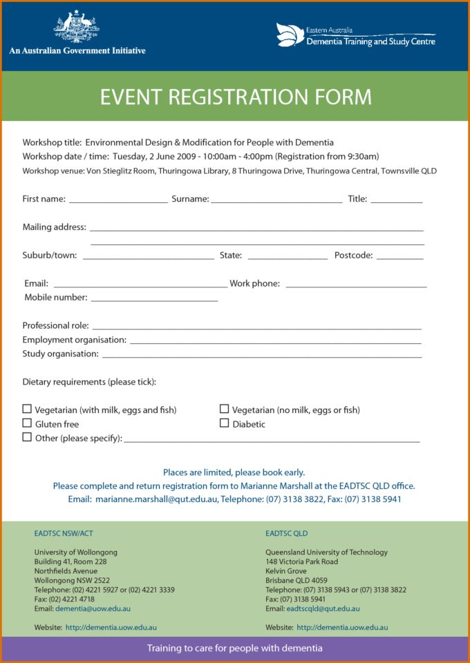 Downloadable Registration Form Template Word And Free Printable ...