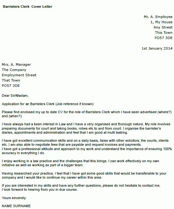 Barristers' Clerk Cover Letter Example - icover.org.uk