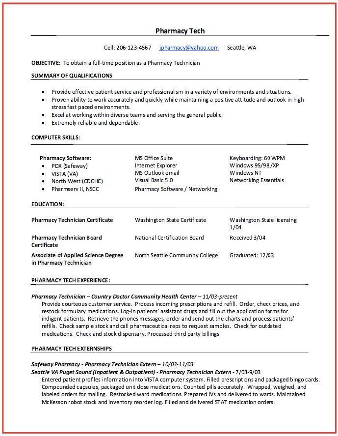 pharmacy technician resume samples - RESUMEDOC