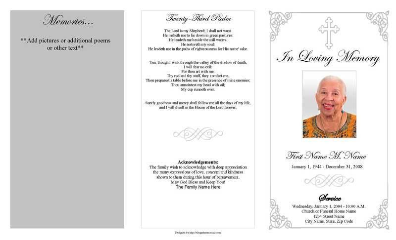 Funeral Program Blank Template funeral program template grey ...
