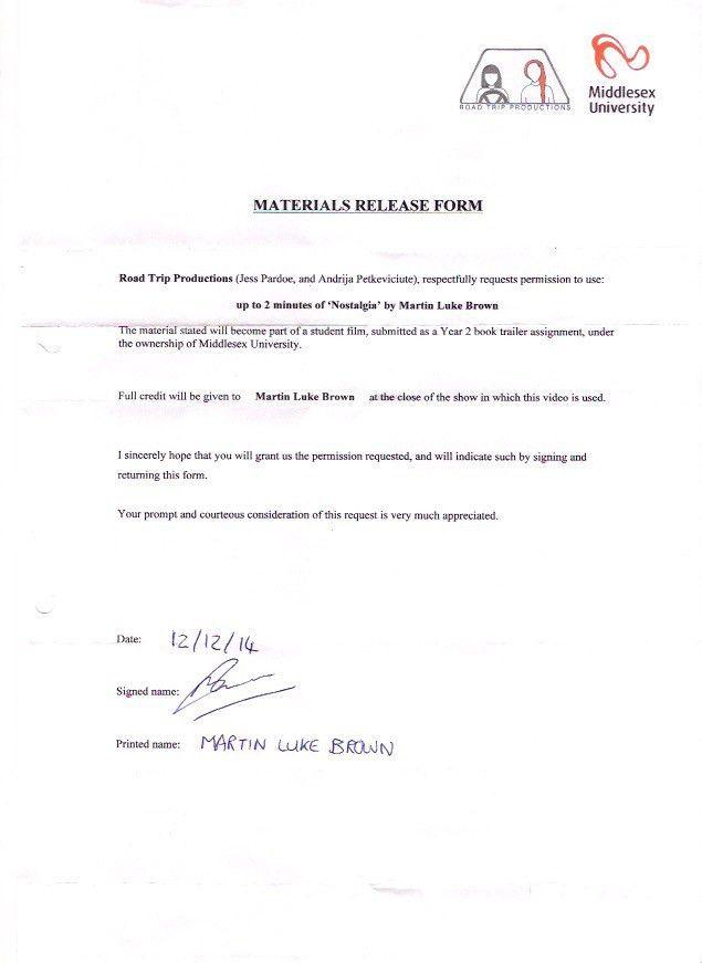 Beautiful Film Release Form. Mda2900: Book Trailer Directoru0027S Paperwork .