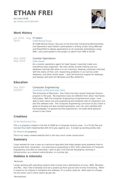 It Intern Resume samples - VisualCV resume samples database
