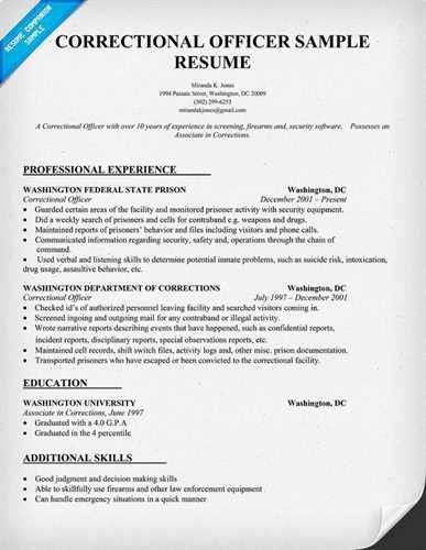 correctional officer resume sample Source: