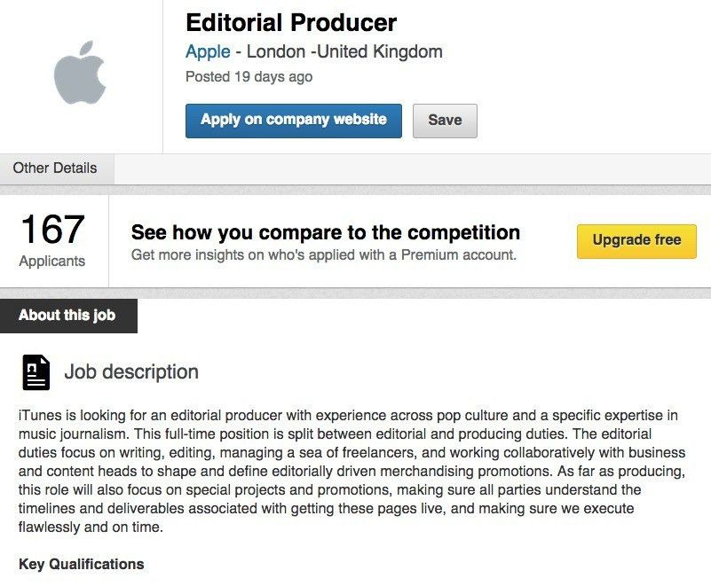 Apple's New Music Service Needs Editorial Producer - Job Opening