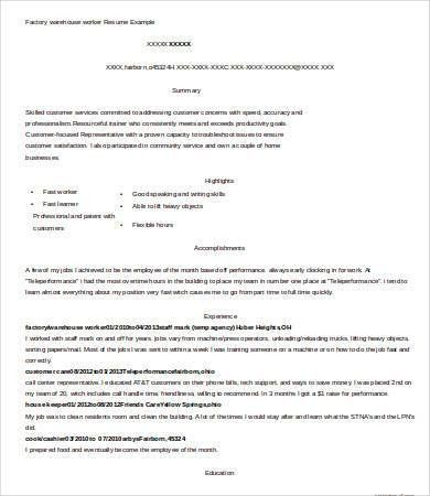 Warehouse Worker Resume - 7+ Free Sample, Example, Format | Free ...