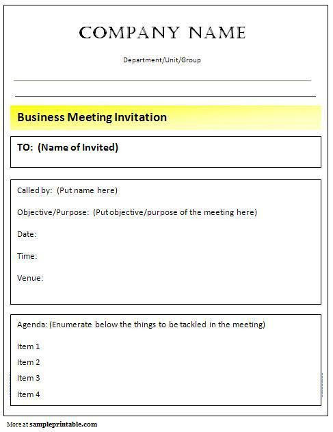 Business Meeting Invitation Template | Free Business Template