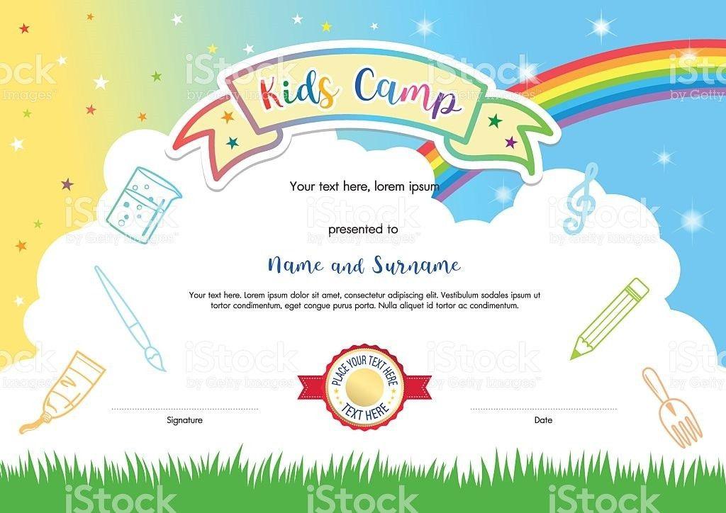 Colorful Kids Summer Camp Diploma Certificate Template In Cartoon ...