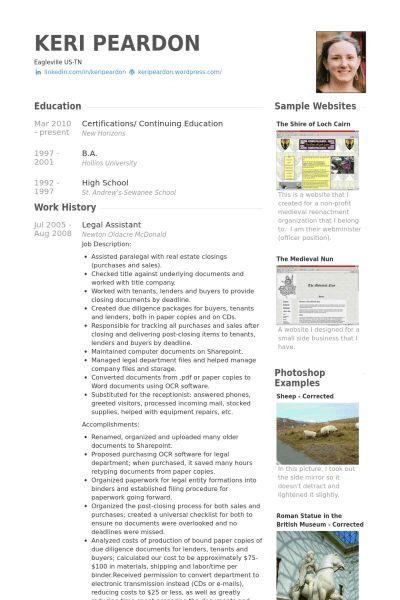 Legal Assistant Resume samples - VisualCV resume samples database