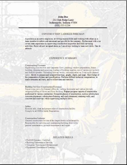 Construction Foreman Resume, Occupational:examples,samples Free ...