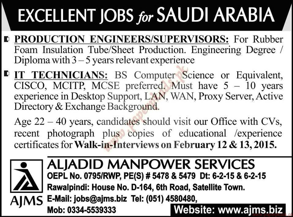 Production Engineers, Supervisors, IT Technicians Jobs in Saudi ...