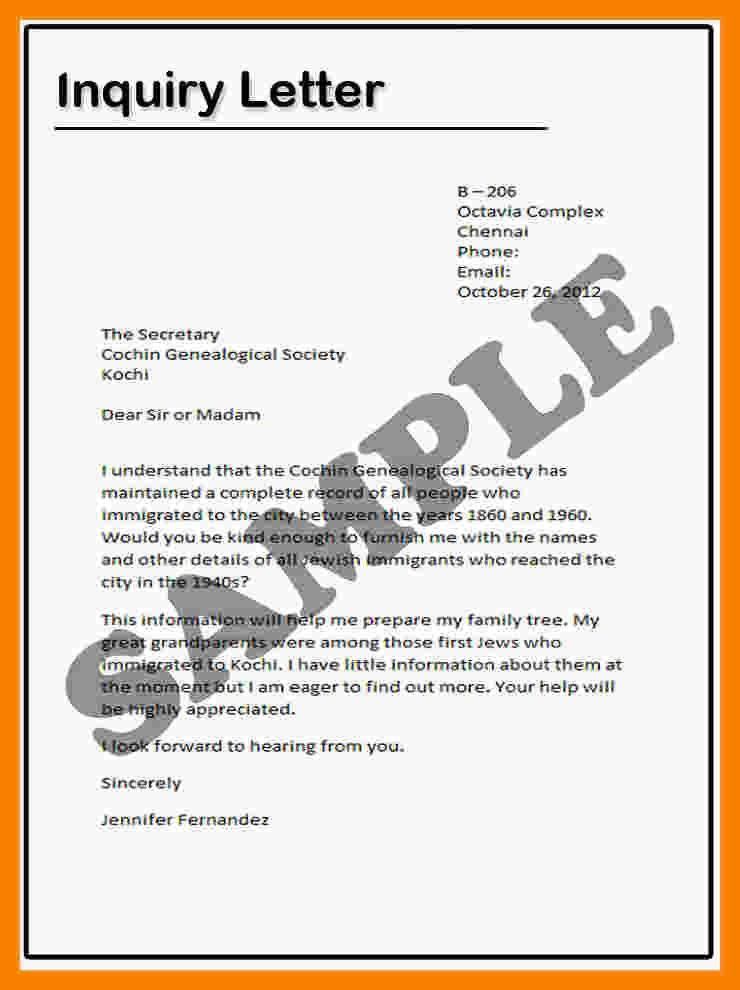 6+ letter of inquiry sample | biology resume