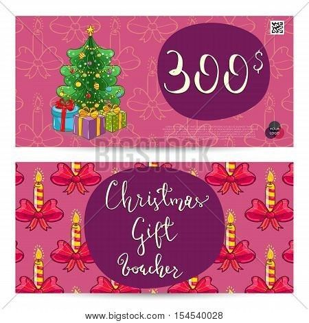 Christmas voucher template vector. Xmas gift voucher layout or ...