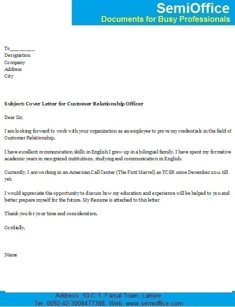 Cover Letter for Customer Relationship Officer