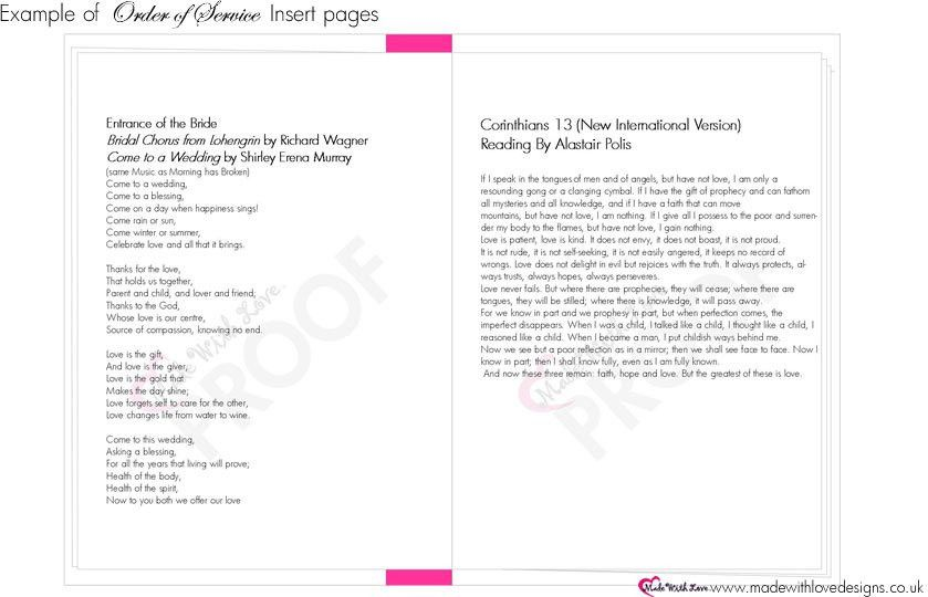 Made With Love Order Of Service Booklets - Wording Templates ...