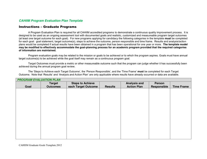 Perfect Program Evaluation Plan Template In Word And Pdf Formats