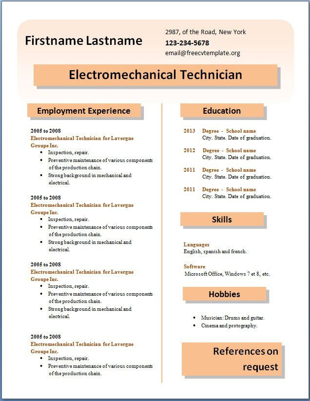 Kitchen staff resume sample – Free CV Template dot Org