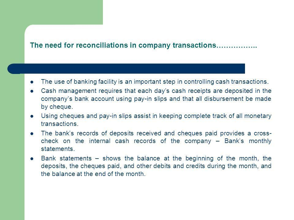 Bank Reconciliations Internal Control Systems, Cash and ...
