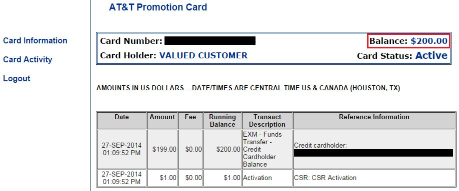 How to Apply a $200 Promotional Card to your AT&T Monthly Bill