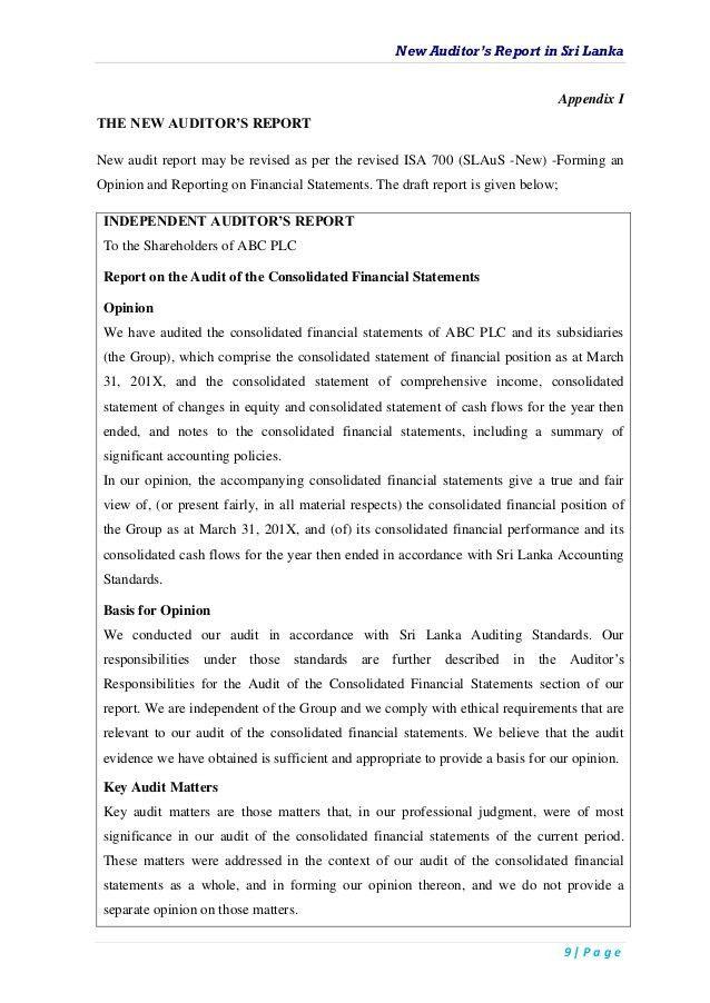 New auditor's report in sri lanka