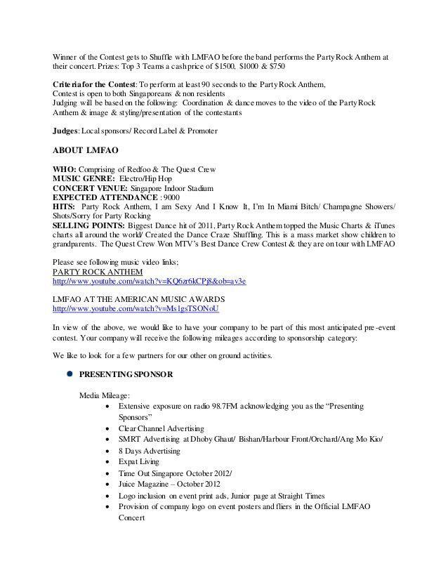 Music Concert Sponsorship sales proposal