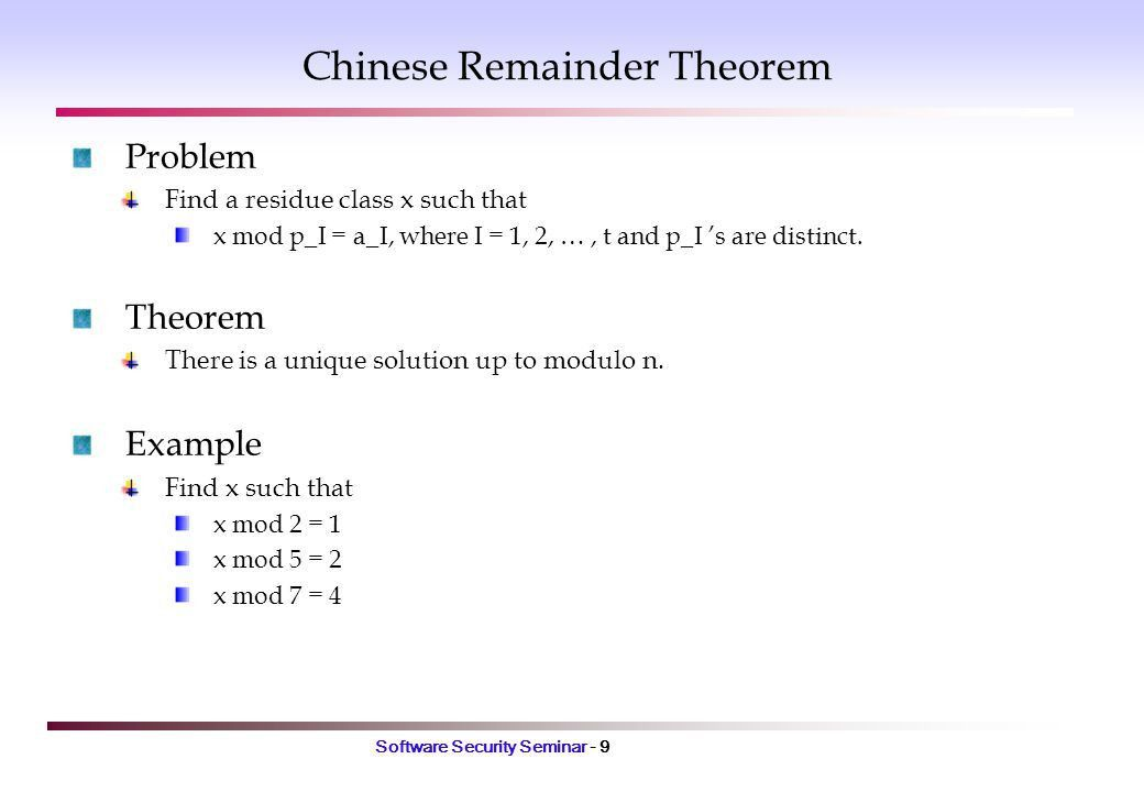 Software Security Seminar - 1 Chapter 11. Mathematical Background ...