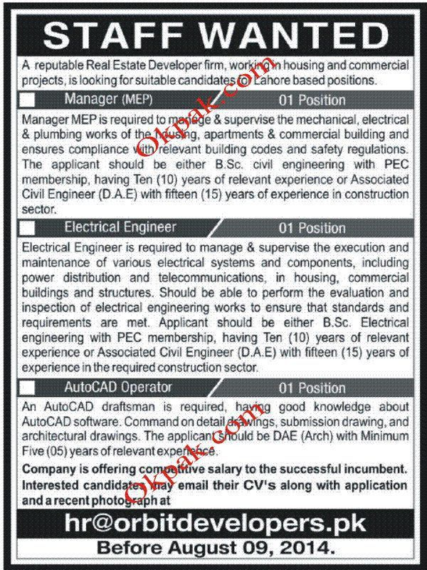 Manager Jobs, Electrical Engineer Jobs, AutoCAD Operator Jobs ...