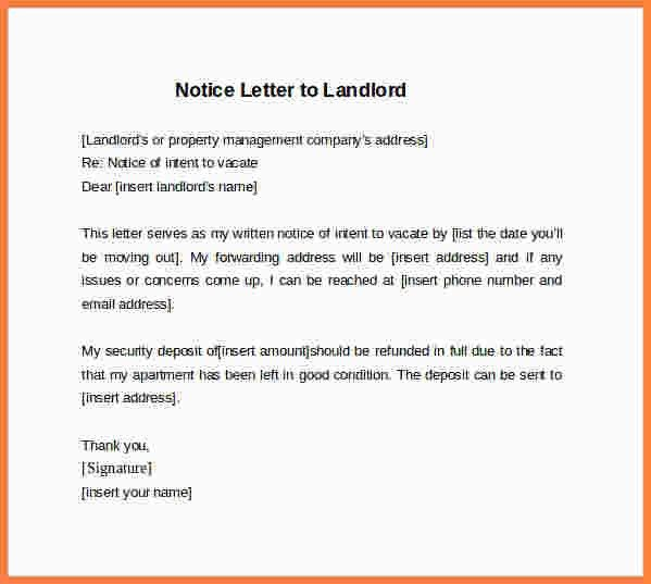 30 day notice letter to landlord. printable sample 30 day notice ...