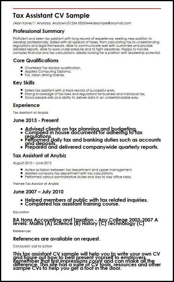 Tax Assistant CV Sample | MyperfectCV