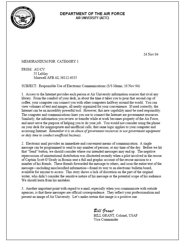 Air Force Official Memorandum Template