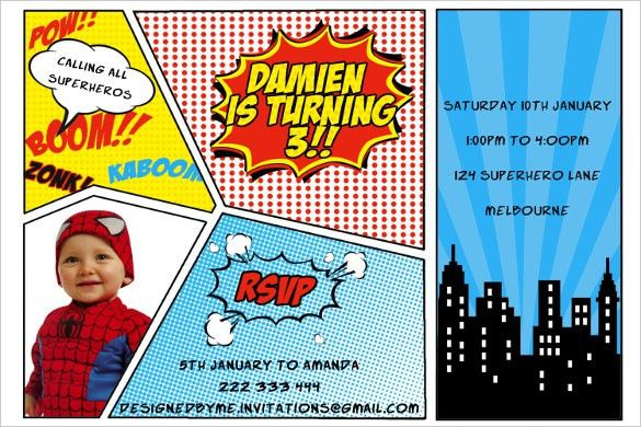 21+ Superhero Birthday Invitation Templates – Free Sample, Example ...