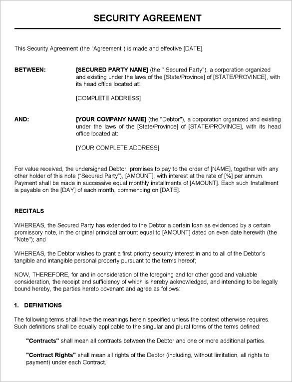 Contractual Agreement Template. Sample Loan Agreement Form ...