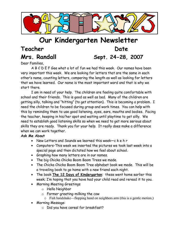 Best 25+ Kindergarten newsletter ideas on Pinterest | Newsletter ...