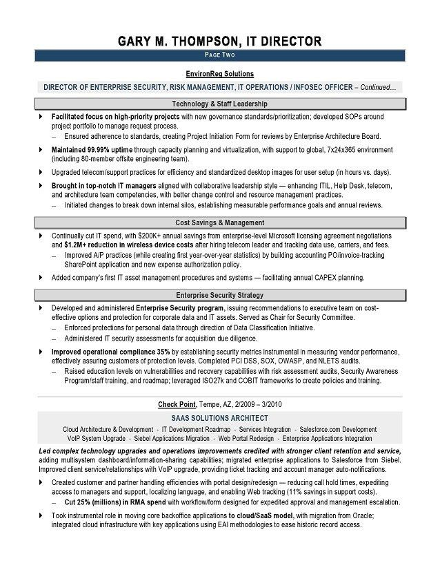 IT Director Sample Resume - IT resume writer - Technical resume ...