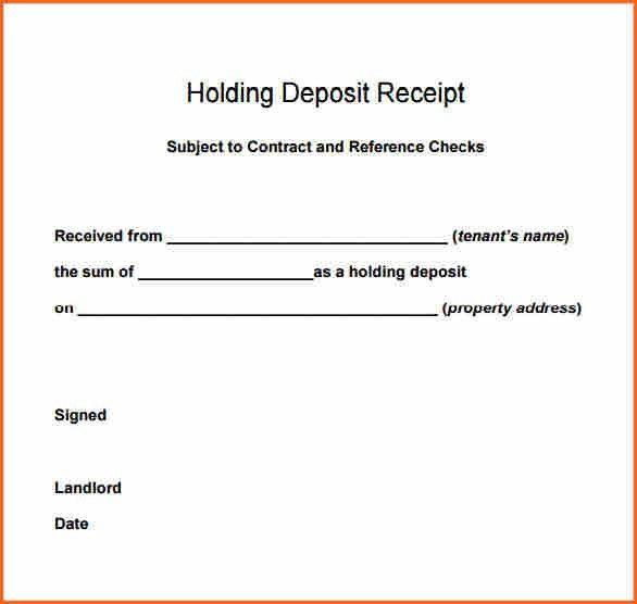 9+ deposit receipt template - Budget Template Letter