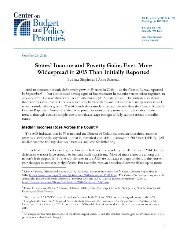 States' Income and Poverty Gains Even More Widespread in 2015 Than ...