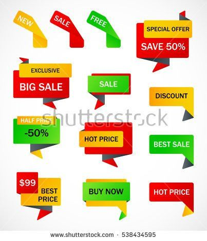 Vector Stickers Price Tag Banner Label Stock Vector 617322416 ...