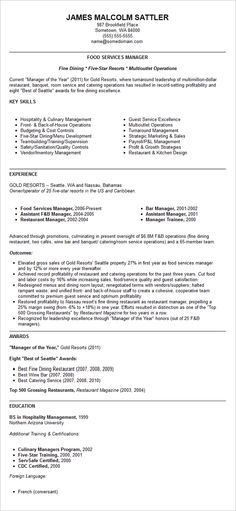 Restaurant Manager Resume Template | Business Articles | Pinterest ...