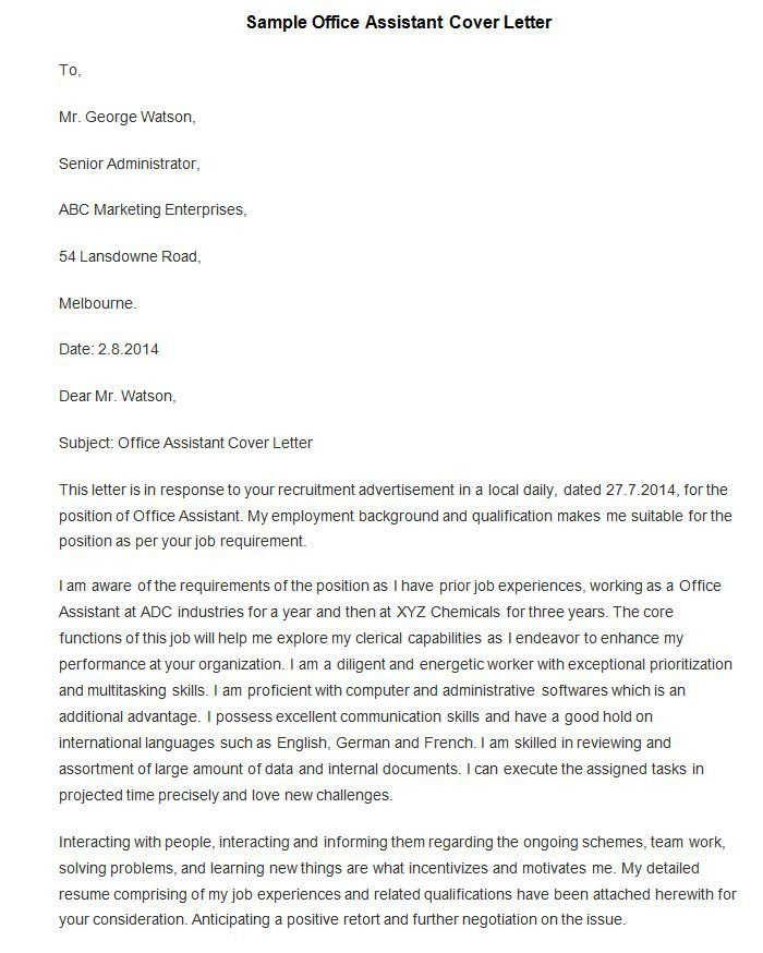 Cover Letter Office Assistant - My Document Blog
