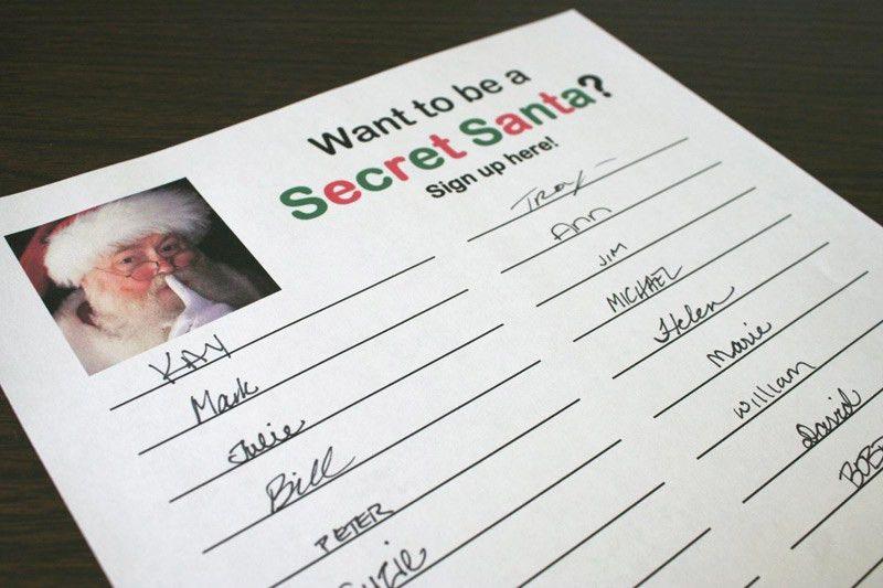 Secret Santa sign-up sheet | Chica and Jo