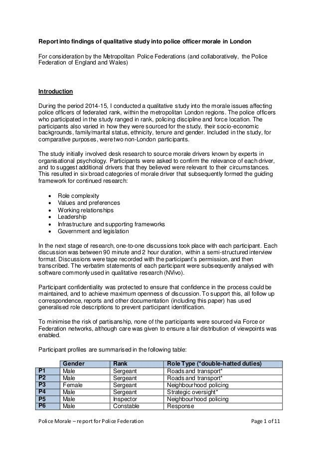 Operational report - UK Police Morale