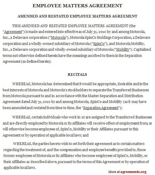 Employment Agreements. Contract Agreement Example Of Employment ...