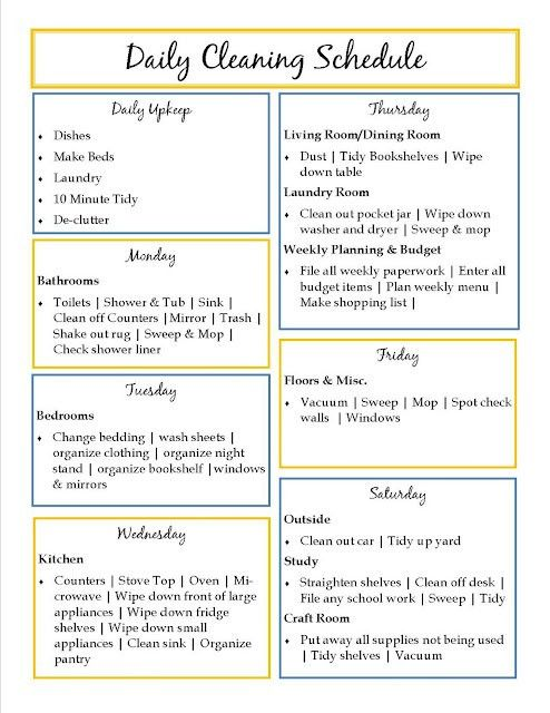 Daily Cleaning Schedule | The things I Want for My HoMe ...