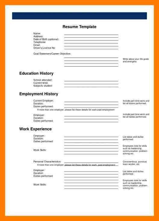5+ printable blank resume form | teller resume