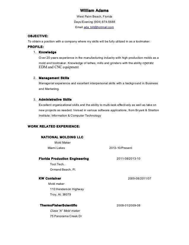 Tool maker, West Palm resume