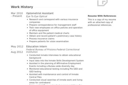 Optometric Technician Resume Sample RESUMES DESIGN, Optometric ...