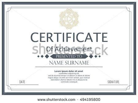 Certificate Diploma Template Achievement Success Diploma Stock ...