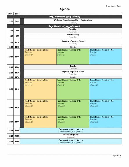 Conference Agenda Template | Sample Format