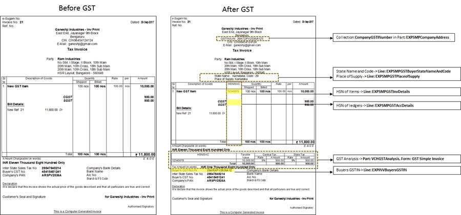 GST Changes in Simple Printed Invoice